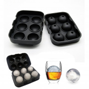 Ice Cube Tray Mould - Wosweet Black Silicone Ice Ball Maker With 6 X 4.5cm Round Ice Ball Spheres for Whiskey, Cocktails & Bourbon