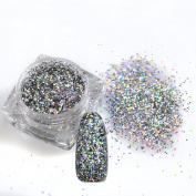 1 Bottle 0.6mm Shiny Paillette Laser Sequins Nail Art Glitter Powder Silver/Gold Colour Decorations Manicure Tip Tools 025T