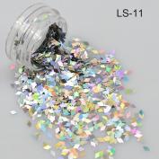 1g/ Bottle Laser Silver Colour Holographic Glitter Diamond Shape Rhombus Paillette Nail Art Tools Decoration Sequins LS11