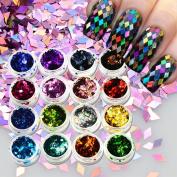 16pcs/lot Colourful Rhombus Laser Nail Art Glitter 2017 Thin Mini Diamond Shape Sequins Beauty Decorations DIY Paillette LS01-16