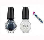 White and Black Pearl 2PCS Konad Stamping Nail Art Special Polish 11ml with One Ganda Nail Buffer