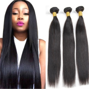 Straight Human Hair Extensions 100% Virgin Brazilian Hair Weaves Unprocessed Natural Colour 3 Bundles 36cm 9A Grade Hight Quality Hair Wefts for Women Lady Girl 100g/bundle