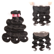 SuperNova Brazilian Body Wave Virgin Hair Weave 3 Bundles with 13x 4 Ear to Ear Full Lace Frontal Closure Unprocessed Human Hair Extensions Natural Colour