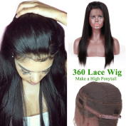 MissIvy 360 Lace Wig 180% Density Straight 360 Lace Front Human Hair Wigs Peruvian Virgin 360 Lace Frontal Wig Pre Plucked 360 Full Lace Human Hair Wig Natural Hairline 360 Lace Virgin Hair 41cm