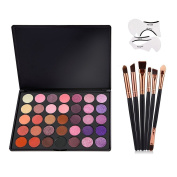 Vodisa Eyeshadow Palette 35 Waterproof Makeup Nature Glow Matte Eye Shadows Kits Pro Make Up Shimmer Eye Shadow Pallets with Eyes Makeup Brushes Set and Cat Eyeliner Stencil Beauty Cosmetics
