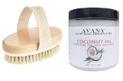 2 Pc Set Dry Skin Body Brush and After Shower Organic Coconut Oil - Body Brushing Moisturiser for Clear Glowing Skin – Natural Boar Bristle Brush - Skin Brushing Exfoliates Dead Skin