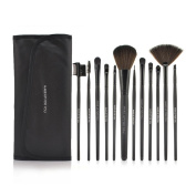 Roll up Case Cosmetic Brushes Kit 12/15 PCS Cosmetic Brush Set with Pouch Pro Wooden Handle Makeup Brush Tool