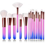 15pcs Professional Makeup Brushes ASIMOON Kabuki Makeup Brush Set Face Eyeliner Blush Contour Foundation Lip Eye Cosmetic Brushes Kits for Powder Liquid Cream