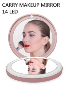 BMK Folding Makeup Mirror Travel Handheld Mirror with LED Ring Light with Power Bank 3000mAh-Pink