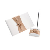 Remedios Champagne Ribbon Flower Wedding Guest Book Party Guest Book