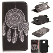 For Moto G5 Case [with Free Screen Protector], Qimmortal(TM) Magnetic Flip Book Style Cover Case ,High Quality Classic Colourful Cool Pattern Design Premium PU Leather Stand Function Folding Magnetic Credit Card Holders Case Cover For Moto G5(Black win ..