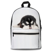 Coloranimal Stylish 3D Pet Dog Print White Canvas Backpacks for School
