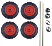 4 x 50mm Red Moulded Plastic Wheel With Tread, 2 x Axel Rods and 4 x Spring Caps