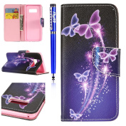 FESELE Samsung Galaxy S8 Plus Case Samsung Galaxy S8 Plus Cover Samsung Galaxy S8 Plus PU leather Wallet case Unique [Butterfly] Painting PU Leather Bookstyle Wallet Case Magnetic Closure with Stand Function PU Leather Wallet Flip Cover Sleeve Card Slo ..