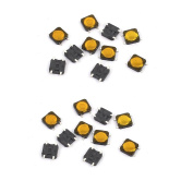 sourcingmap® 20Pcs 4 Pin Square 3mmx3mmx0.7mm Self-Locking DPDT Mini Push Button Switch