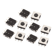 sourcingmap® 10Pcs 5 Pin Square 6mmx6mmx2.5mm Self-Locking DPDT Mini Push Button Switch