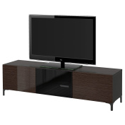 IKEA BESTA - TV bench with drawers and door Black-brown/selsviken high-gloss/brown smoked glass
