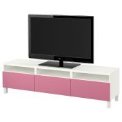 IKEA BESTA - TV bench with drawers White/lappviken pink