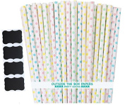 Outside the Box Papers Light Blue, Pink, Yellow and Mint Green Polka Dot Paper Straws 20cm 100 Pack Light Blue, Pink, Mint Green, Yellow