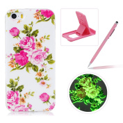 For iPhone SE/iPhone 5/5S Silicone Case,Herzzer Creative Unique Stylish [Pink Flower] Drawing Pattern [Night Luminous] Effect Fluorescent Glow In The Dark Ultra Slim Soft Silicone Gel TPU Rubber Back Cover for iPhone SE/iPhone 5/5S + 1 x Free Pink Cell ..
