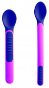 MAM Heat Sensitive Feeding Spoons and Cover, Pink