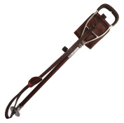 Brown leather adjustable shooting stick with leather covered shaft and carrying strap. Comes with a detachable rubber ferrule