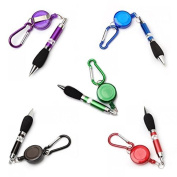 5pcs Retractable Badge Reel Pen Belt Clip and Carabiner---Random Ink Colour