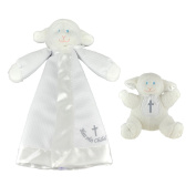 Mary Meyer Christening Plush Rattle & Christening Lamb Blanket Bundle