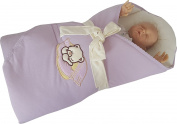 BlueberryShop Jersey Embroidered Swaddle Blanket Wrap for Newborn Baby Stiffened/Hard Back (Removable Sponge Insert) ( 0-3m ) ( 78 x 78 cm ) Purple
