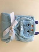 Soft Baby Animal Hooded Blanket - Blue 80cm x 100cm