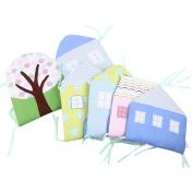 Qianle 5pcs Baby Nursery Bedding Set Infant Crib Breathable Bumper Liner Protector