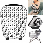 Nursing Breastfeeding Cover Scarf, Baby Car Seat Canopy, Shopping Cart, Stroller, Carseat Covers Baby Shower Gift for Girls and Boys - Multi-Use Infinity Stretchy Shawl