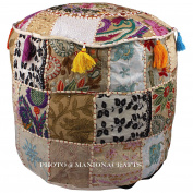 Maniona Crafts Indian Vintage Ottoman Pouffe Cover ,Patchwork Ottoman, Living Room Patchwork Foot Stool Cover,Decorative Handmade Home Chair Cover 14x 60cm x 22Inch