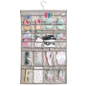 mDesign Fabric Baby Nursery Closet Organiser for Hats, Shoes, Socks - Hanging, 48 Pockets, Grey