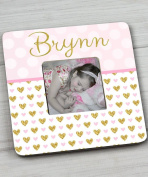 Pink Gold Dots and Bunting Girls Photo PICTURE FRAME for Kids Bedroom Baby Nursery Pf0092Pink Gold Dots and Bunting Girls Photo PICTURE FRAME for Kids Bedroom Baby Nursery PF0092