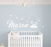 Custom Name Stars And Rabbit Animal Series - Baby Boy - Wall Decal Nursery For Home Bedroom Children(MM26)