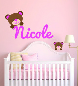 Custom Name Bears - Baby Girl - Wall Decal Nursery For Home Bedroom Children(MM25)
