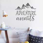 BATTOO Adventure Awaits Wall Decal Stickers - Adventure Quotes Travel Theme Wall Decor - Arrow Wall Decal - Mountain Wall Decal Bedroom Nursery Decor