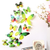 Wall Stickers ZTY66, 12Pcs 3D DIY Butterflies Mural Stickers for Home Decor Room Decoration