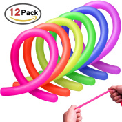 Homder 12 Pack Colourful Sensory Fidget Stretch Toys Helps Reduce Fidgeting Due to Stress and Anxiety for ADD, ADHD, Autism