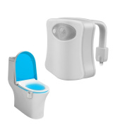 Toilet Night Light,IEKA Colourful Motion Activated Water Resistant Bathroom LED Toilet Bowl Night Light 8 Colours Changing with Motion Detection