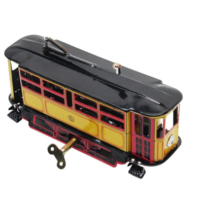Bettal Iron Retro Wind-up Tram Cable Bus Clockwork Streetcar Toy Vintage Collection Kid Gift