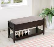 Grey Linen Fabric Entryway Shoe Bench Shelf Storage Organiser