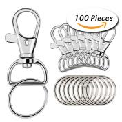 Paxcoo 100 Pcs Key Chain Hooks with Key Rings