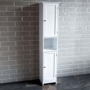 Home Discount Priano Bathroom Cabinet Storage Cupboard Floor Standing Wooden Tallboy Unit, White