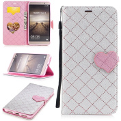 EC-touch Simple Beautiful Colourful Flower [Magnetic] Style PU Leather Case Wallet Flip Stand [Flap Closure] Cover for Huawei P10,P10 lite,Mate 9