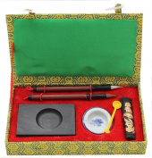 HorBous 7 PCS Chinese Calligraphy Inkstone + water bowl + Ink stick + 2 Brush Pens + Ink Spoon + Gift Box Set for Kids Child Beginner