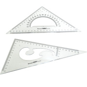 BronaGrand Large Triangle Ruler Square Set, 30/ 60 and 45/ 90 Degrees, Set of 2