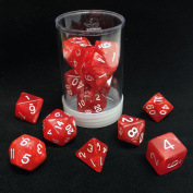 Polyhedral 7 - Die Max Pro Premium Dice Set - Pearl Red with White MX