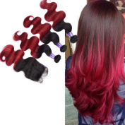 Fashion Lady Hair Ombre Two Tone Brazilian Body Wave Human Hair 3Bundles with 44 Lace Closure Ombre Hair T1b/burgundy£¨10 10 30cm + Closure 10 £
